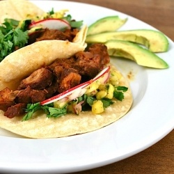 ... marinated pork tacos with fresh pineapple salsa. Tacos al pastor