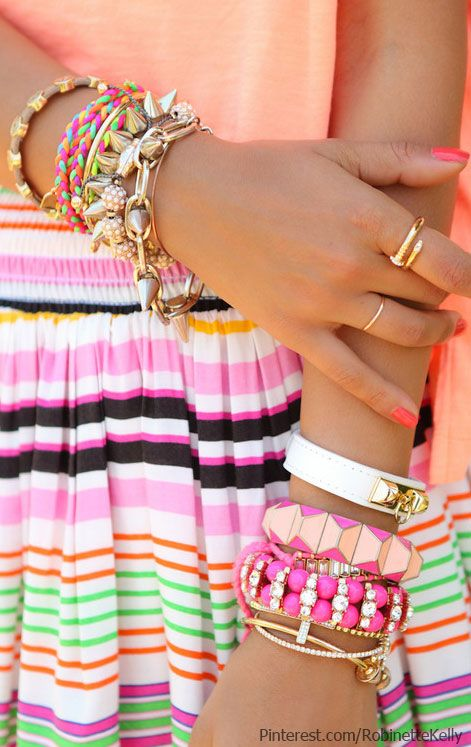 Colorful Accessories- layering those bracelets without looking cluttered.