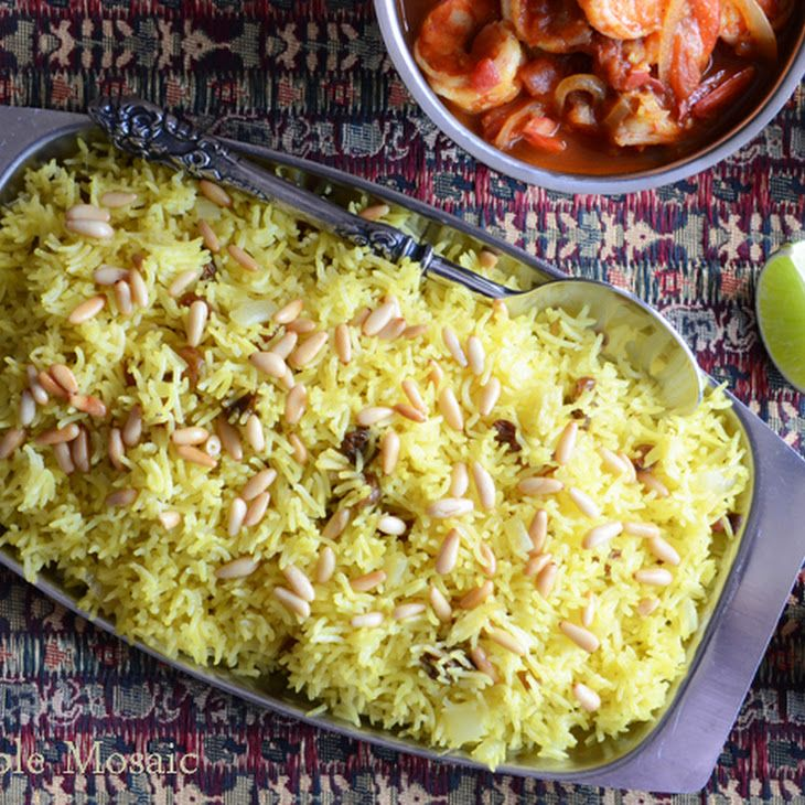 Saffron Rice with Golden Raisins and Pine Nuts Recipe...great to stuff ...