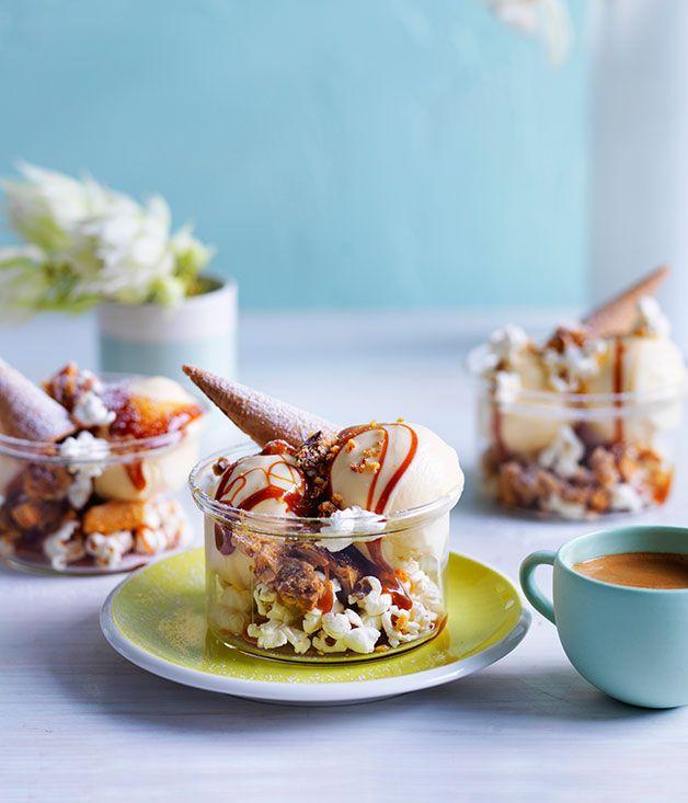 Caramel popcorn sundaes | Sweet - Icecream & sorbet | Pinterest