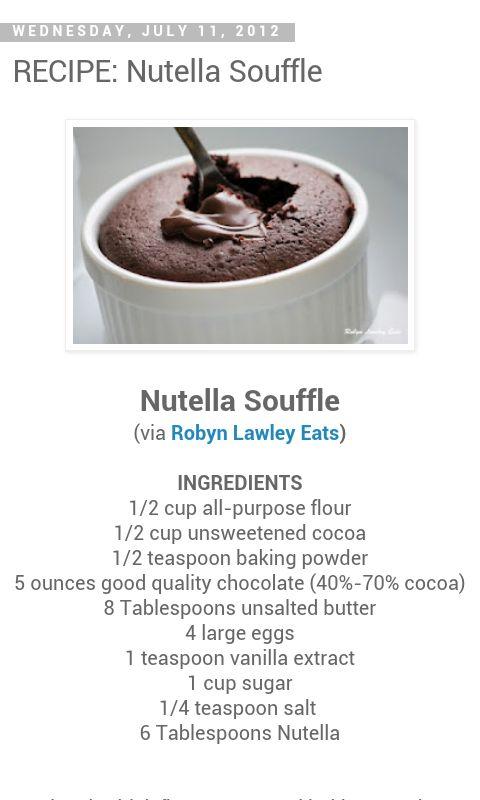 nutella souffle recipe   Recipes!   Pinterest