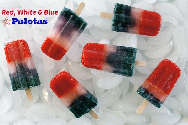 Red White and Blue Lemonade Pops (Strawberries, Blueberries . . . )