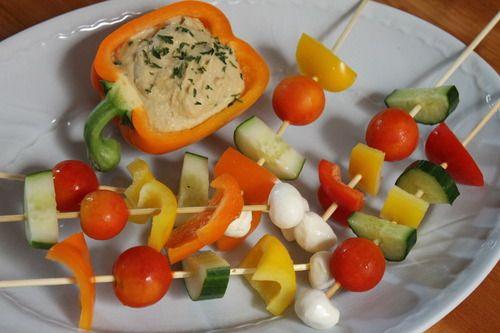 Homemade Hummus and Veggie Kabobs | vegan recipes | Pinterest