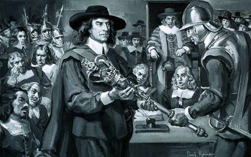 "Oliver Cromwell and the Long Parliament (Original)    Description: Who Said...? ""What shall we do with this bauble? There, take it away!"" Oliver Cromwell in the House of Commons in 1653. Cromwell symbolically dissolves The Long Parliament by removing the Mace, the symbol of Parliamentary power. Original artwork from Look and Learn no. 284 (24 June 1967)."