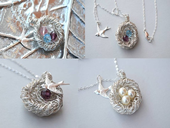 Personalized Birthstone NecklaceSterling by GlassPoppies on Etsy, $39.00