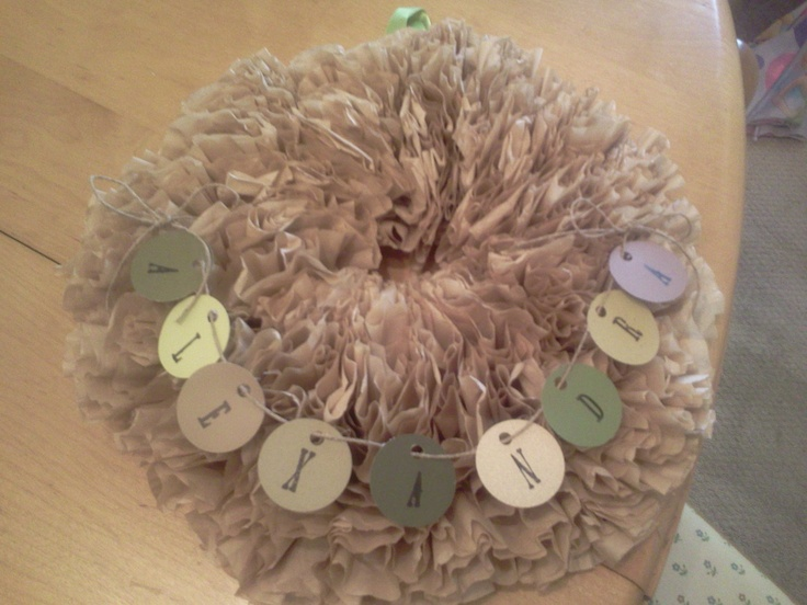 Coffee filter wreath for baby's room   Finished projects   Pinterest