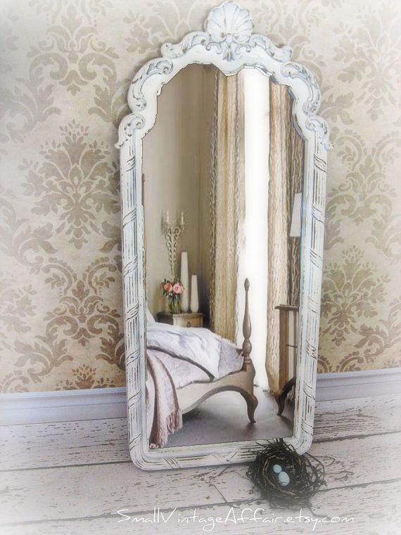Long french mirror vintage white mirror by smallvintageaffair 159 00