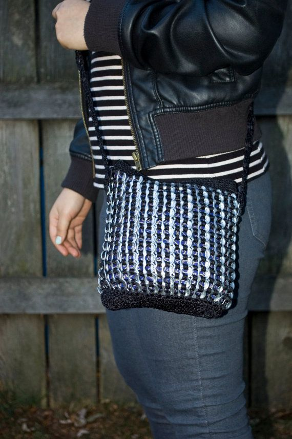 Crochet Side Bags : Black Upcycled Crochet Pop Tab Side Bag via Etsy