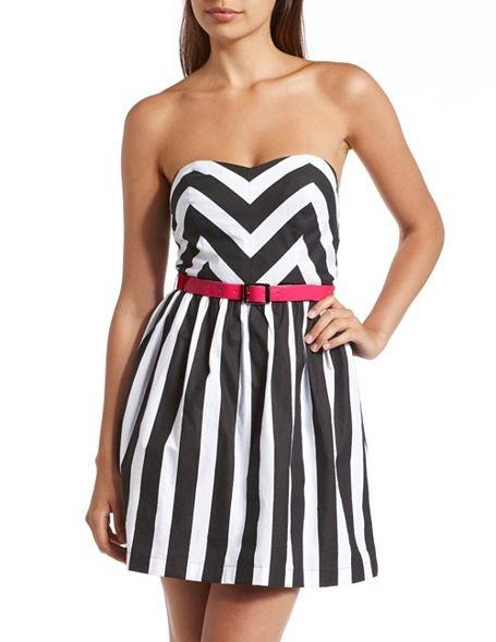 Belted Chevron Stripe Tube Dress: Charlotte Russe