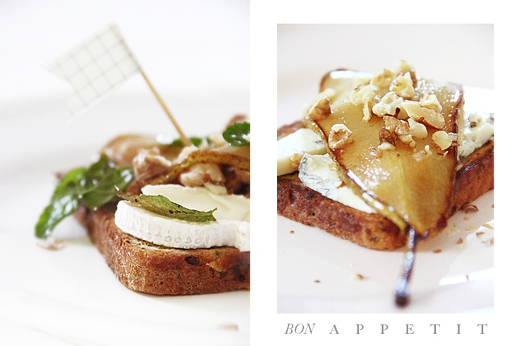 Toast with gorgonzola and roasted pear | gourmet food ideas | Pintere ...