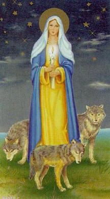 """Our Lady of Candlemas --    The Polish legend relates that Mary, the Mother of God of the """"Blessed Thunder Candle"""" (Matka Boska Gromniczna), watches over the people on cold February nights. With her thunder candle she wards off the ravenous pack and protects the peasants from all harm."""