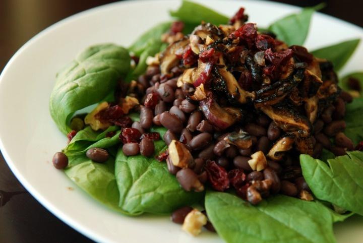Shiitake, Walnut, and Cranberry Salad with Adzuki Beans