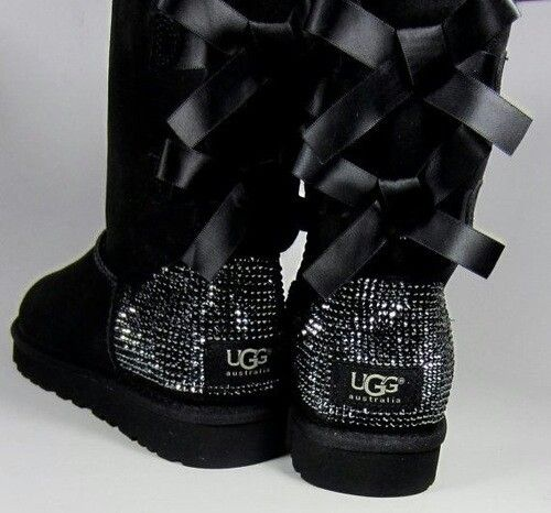 black uggs with ribbon on back