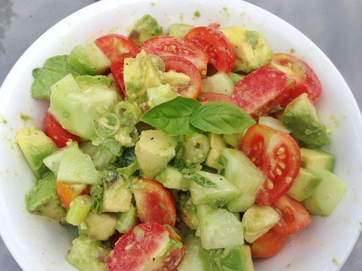 Cucumber Tomato Avocado Salad with Lemon Basil Dressing