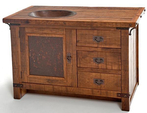 ... Rustic Vanities, Barnwood Vanity, Hammered Copper Sink, Stone Pedestal