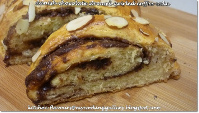 Danish Chocolate Streusel-Swirled Coffee Cake