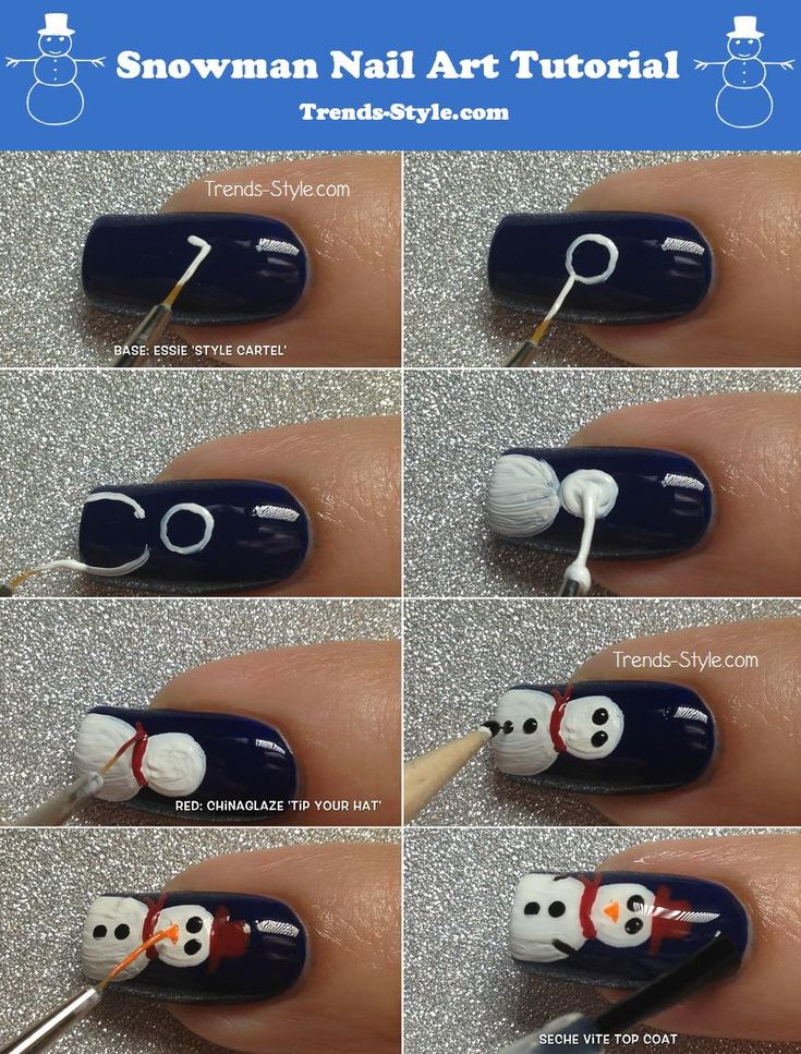 how to do snowman nails tutorial