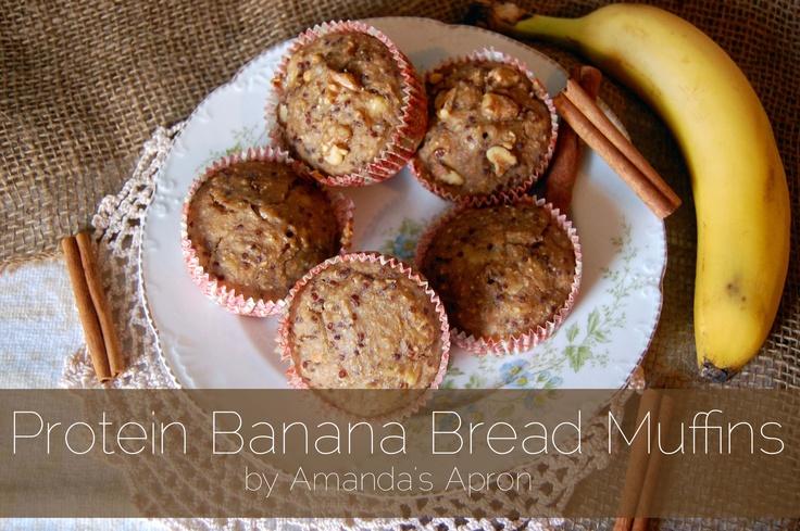 Protein Banana Bread Muffin Recipe by Amanda's Apron