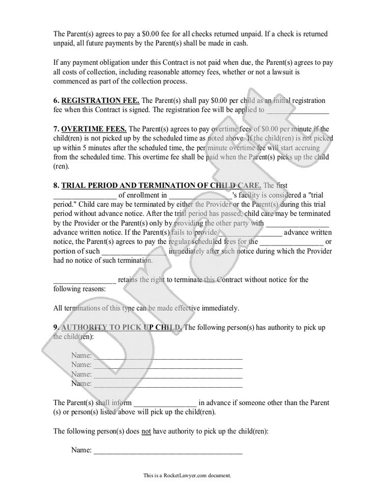 daycare contract template free