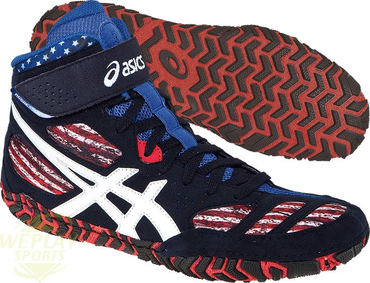 red white and blue asics wrestling shoes