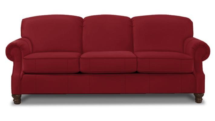 Leather sofa furniture - Bright Red Leather Custom Sofa Bassett Furniture Pinterest