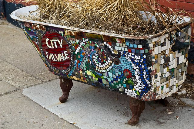 Mosaic Clawfoot Tub For Water Fountain Outdoor Living