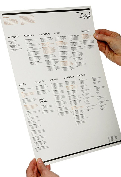 Zizzi menu | Graphic design | Pinterest