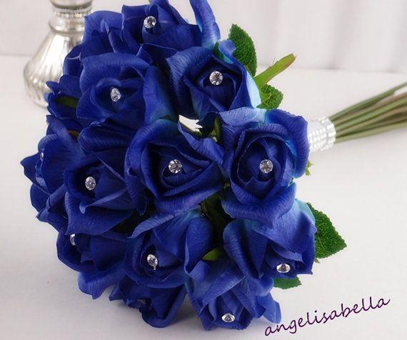 Royal blue wedding Rose bouquet and by amazingweddingflower, $59.99
