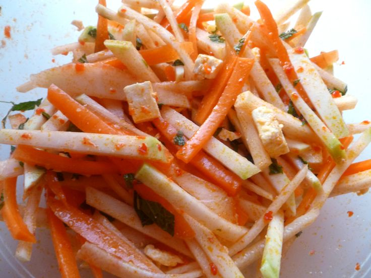Kohlrabi and Carrot Salad with Harissa. Seems like it would be easy ...