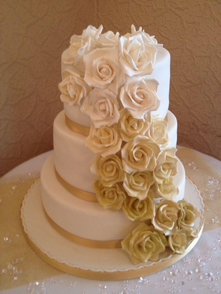 Gold Rose Wedding Cake Cake Decorating Pinterest