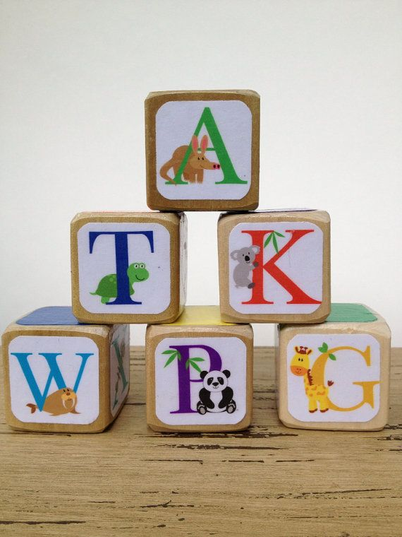baby abc animal alphabet blocks natural wood toy baby shower gi