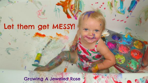 Set up a Creative Art Station in the bath for a clean way to get messy. All the mess is contained, little ones can create freely on all surfaces, and everything washes right down the drain.