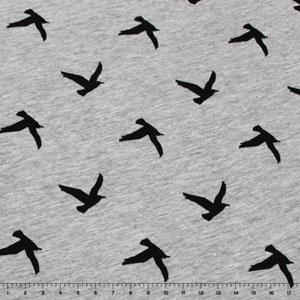 """Bird Silhouettes on Heather Gray Cotton Jersey (""""put a bird on it!"""")"""