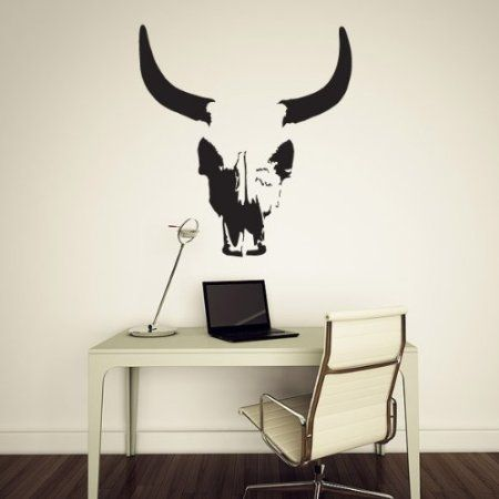 Amazon.com: Bull Skull Wall Decal, Vinyl Sticker: Home & Kitchen
