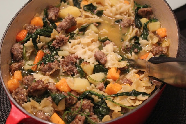 Italian Sausage, Potato, And Kale Soup by Delicious Dishings