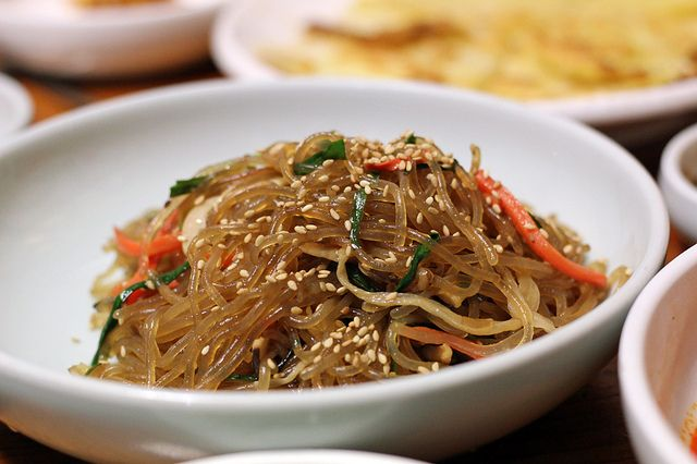 ... Tasting Dishes Pictured: Fried Sweet Potato Noodles (Japchae 잡채
