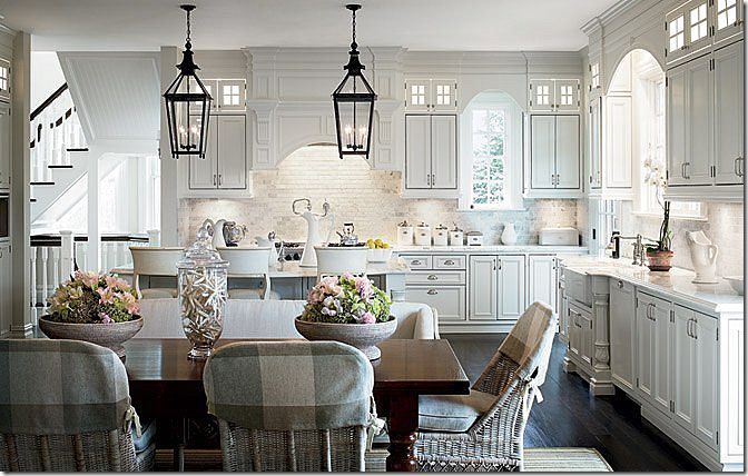 love this kitchen, belongs to Alexa Hampton. The kooboo chairs and the lanterns are to die for