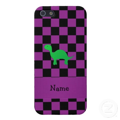 Personalized name dinosaur purple checkers iPhone 5 covers