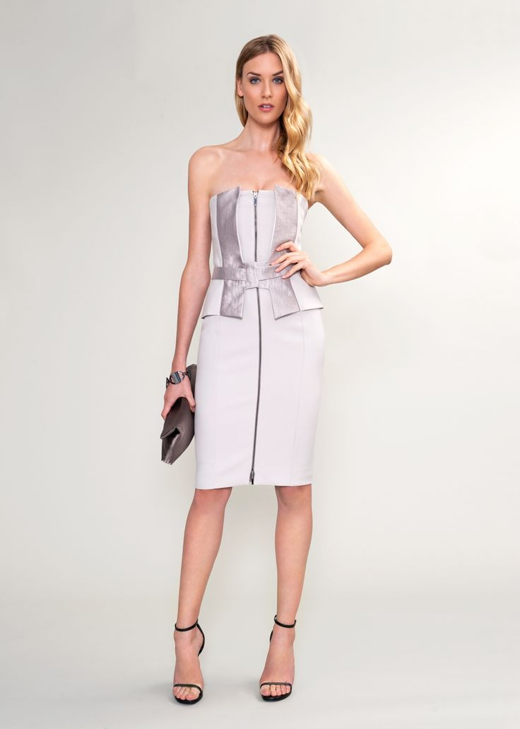 Amanda Wakeley Strapless Corset Dress in Pearl