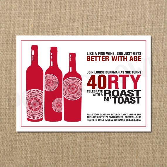 ... Fine Wine Better with Age 40th Birthday Invitation on Etsy, $12.00