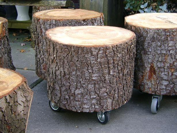 Ik koop een mooi boomstam tafeltje op wielen  )