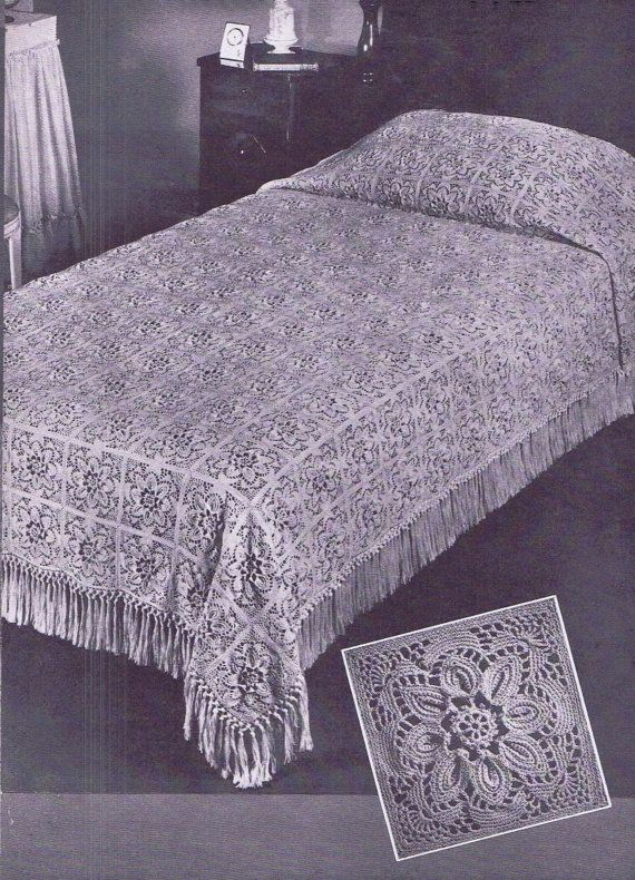 Crochet Bedspread Patterns : Vintage Crochet PATTERN for The Puritan Bedspread by BlondiesSpot, $2 ...
