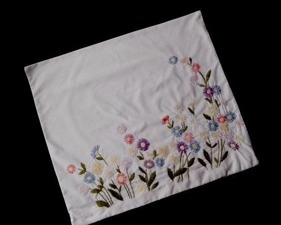 Vintage German hand embroidered pillowcase with colorful daisies -- from Germany