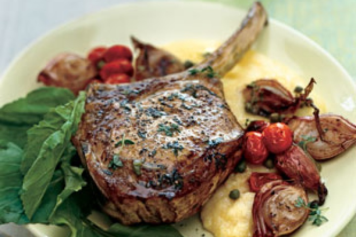 Roasted Veal Chops with Shallots, Tomatoes, and Olive Jus Read More ...