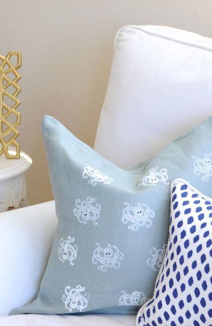 Cute DIY octopus pillow for a beach house
