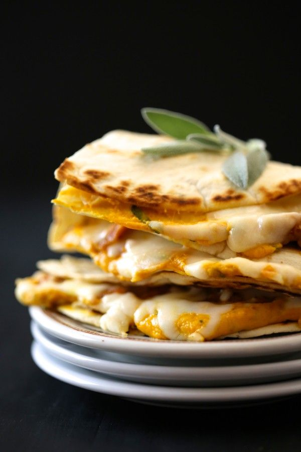 Fabulous! cheesy pumpkin quesadilla with fresh sage & chicken sausage ...