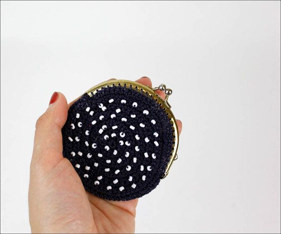 Crochet Round Pouch : round beaded crochet pouch / navy blue & white by OmniaVTG on Etsy,