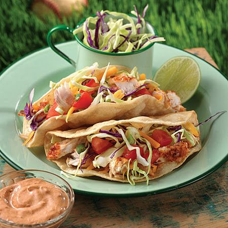 Grilled Fish Tacos. We loved these next time I will do flour tortillas ...
