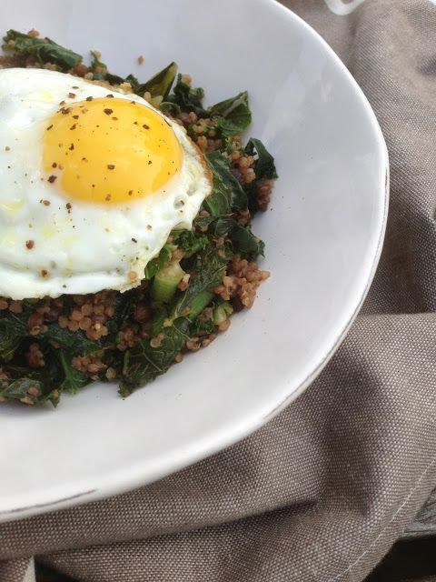... : Stir-Fried Kale, Quinoa and Puy Lentils with Nutmeg and a Fried Egg
