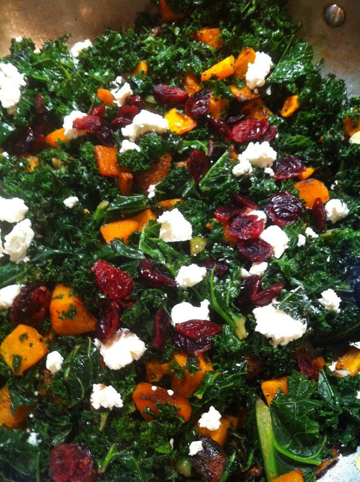 Roasted kale and butternut squash with goat cheese and cranberries
